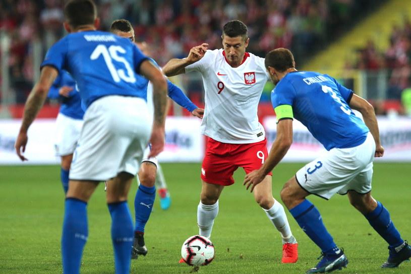 Robert Lewandowski w meczu z Włochami /Andrzej Grygiel /PAP