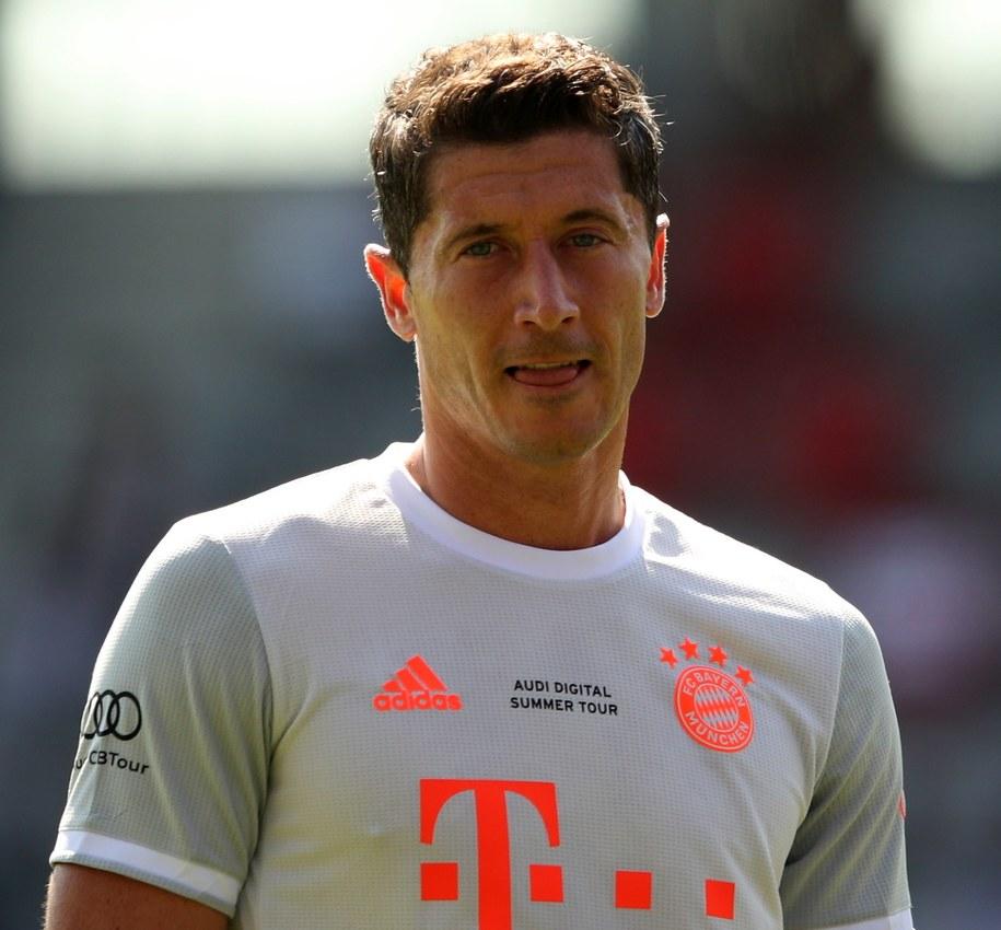 Robert Lewandowski w towarzystkim meczu Bayernu Monachium i Olympique Marsylia /ADAM PRETTY / POOL /PAP/EPA