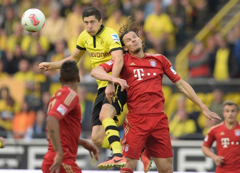 Robert Lewandowski walczy o piłkę z Danielem van Buytenem /AFP