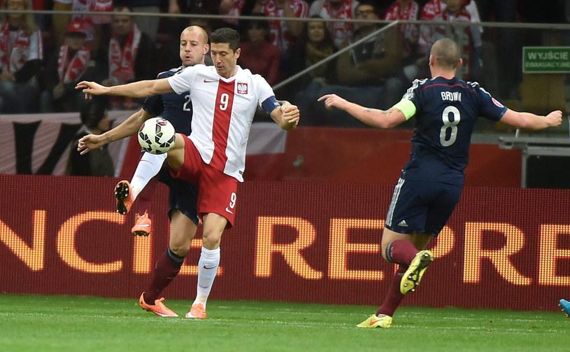 Robert Lewandowski walczy o piłkę ze Szkotami Alanem Huttonem (z lewej) i Scottem Brownem /Bartłomiej Zborowski /PAP