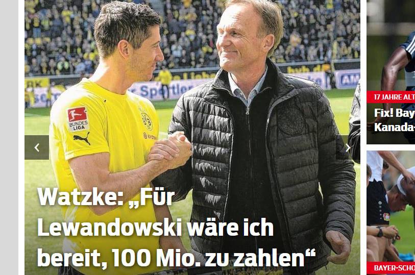 Robert Lewandowski (z lewej) i Hans Joachim-Watzke / sportbild.bild.de /