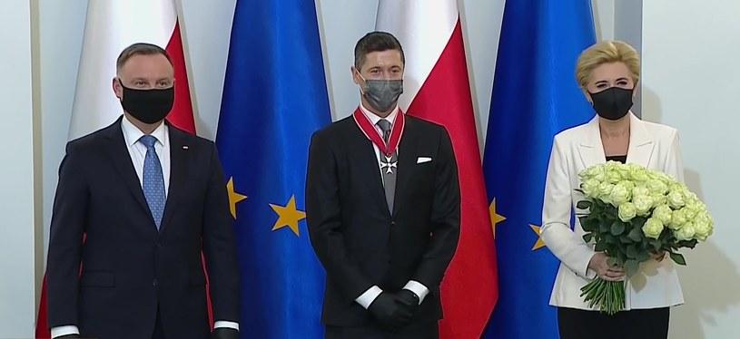 Robert Lewandowski z parą prezydencką /polsatnews.pl