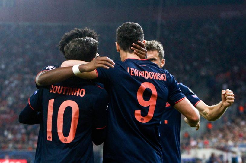 Robert Lewandowski zdobył dwie bramki w meczu z Olympiakosem /Georgia Panagopoulou /PAP/EPA