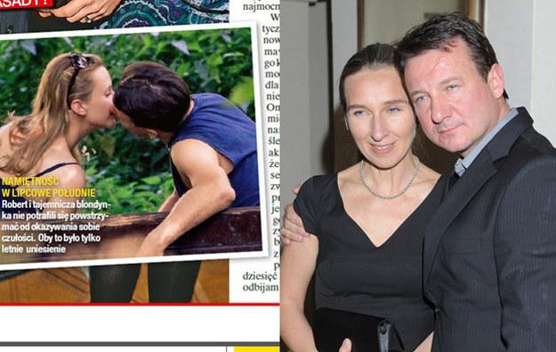 """Robert z tajemniczą kobietą - zdjęcie opublikowane przez tygodnik """"Na Żywo"""" (L) i z żoną (P) - /Tomasz Szamot /MWMedia"""