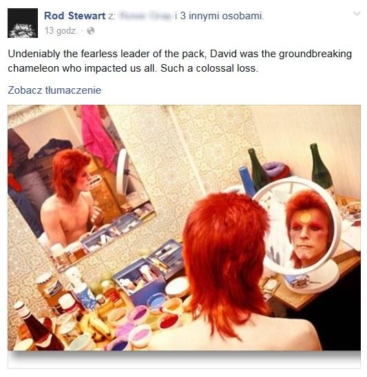 Rod Stewart wspomniał Davida Bowiego na Facebooku /&nbsp /