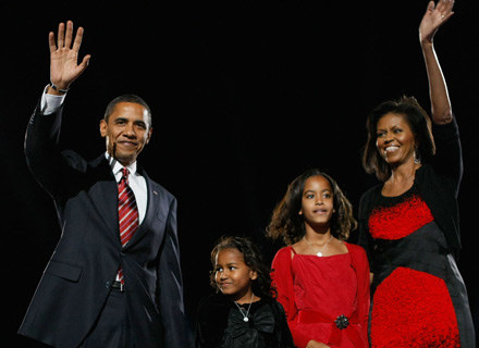 Rodzina Obamy w komplecie - od lewej Barack, Sasha, Malia i Michelle - fot. Joe Raedle /Getty Images/Flash Press Media