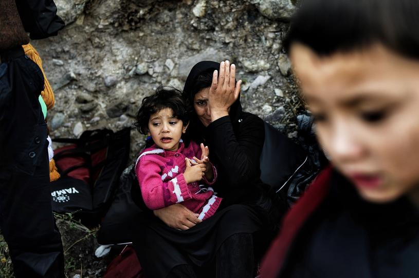 Rodzina syryjskich uchodźców na wyspie Lesbos /Abd Doumany /AFP