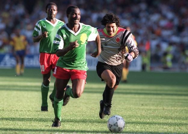 Roger Milla w meczu z Kolumbią w 1990 roku /AFP