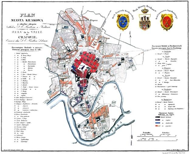 Rok 1836, plan Krakowa w obrębie okopów T. Żebrawskiego (ul. Dietla płynie Wisła) /