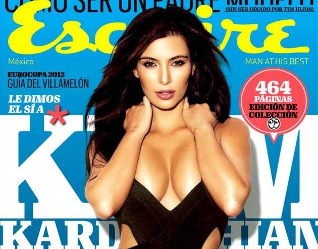 Rok 2012 - Kim Kardashian na okładce hiszpańskiej edycji Esquire /materiały prasowe