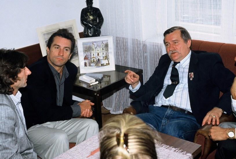 Roman Polański i Robert De Niro u Lecha Wałęsy w Gdańsku w 1989 roku /Wojtek Laski /East News