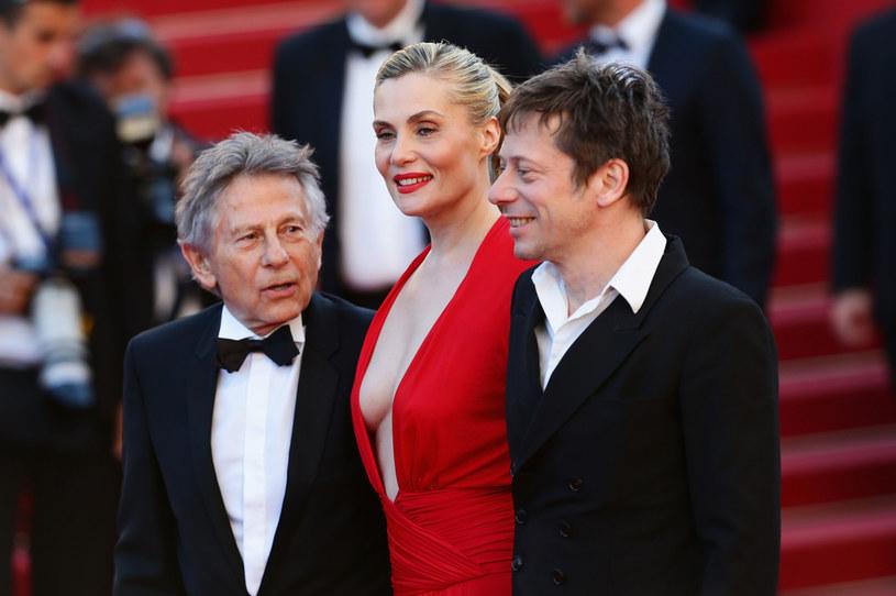 """Roman Polański, Mathieu Amalric i Emmanuelle Seigner na premierze filmu """"Wenus w futrze"""" w Cannes 2013 /Dominique Charriau/WireImage /Getty Images"""