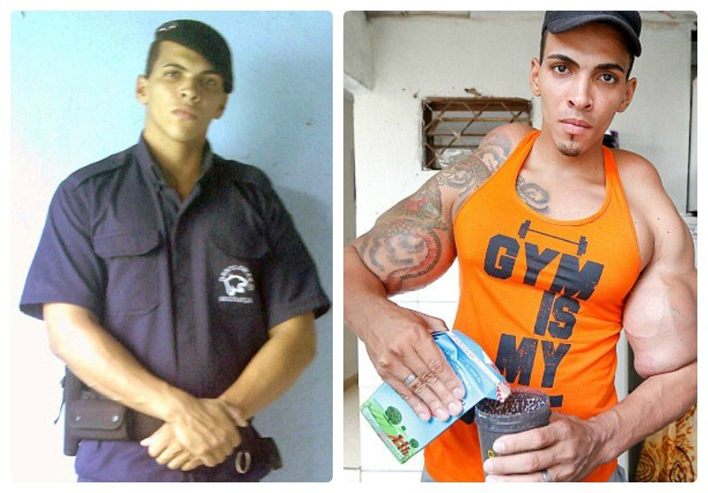 Romario dos Santos Alves kiedyś (z lewej) i dziś... /Barcroft Media /materiały prasowe