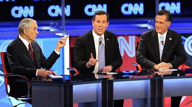 Ron Paul, Rick Santorum i Mitt Romney /AFP