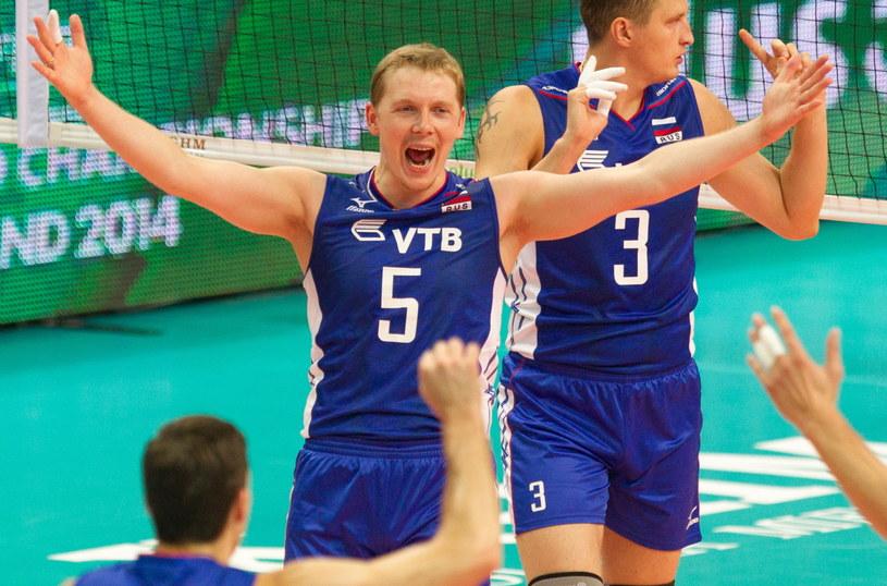 Rosjanie triumfują w meczu z Niemcami /Andrzej Grygiel /PAP