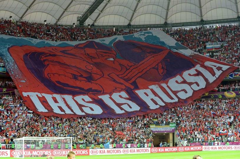 Rosyjscy fani podczas meczu z Polską na Euro 2012 /AFP