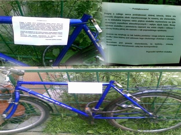 Rower bez siodełka z ciekawym opisem.