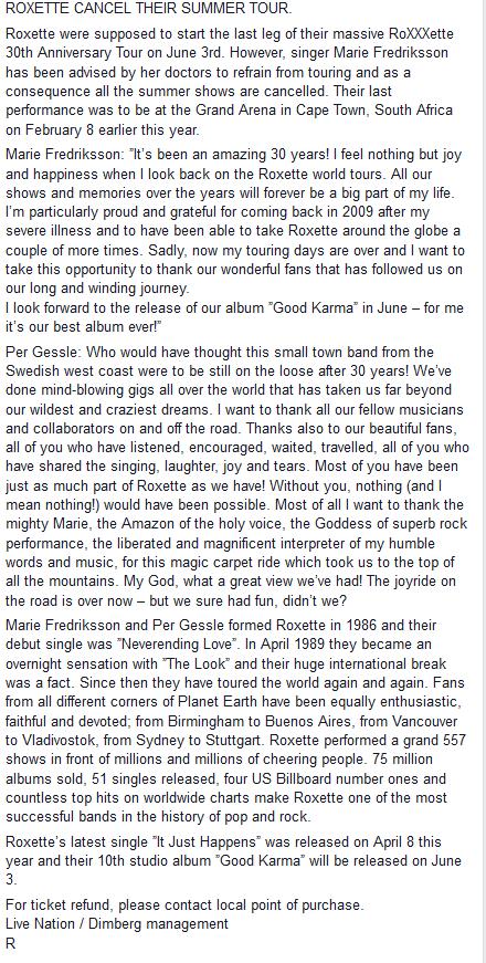 Roxette na Facebooku /