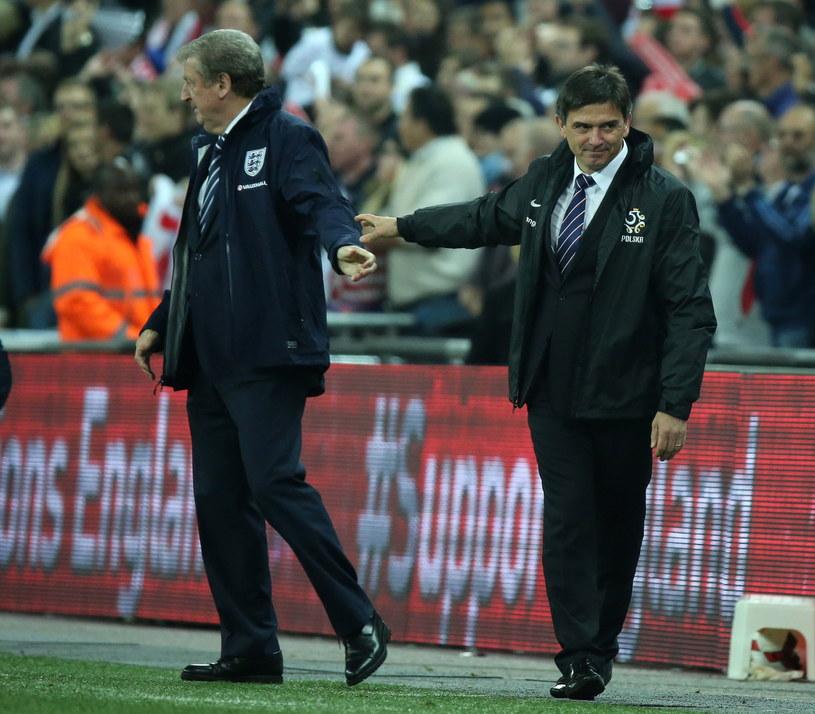 Roy Hodgson i Waldemar Fornalik na Wembley /Radek Pietruszka /PAP