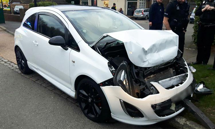 Rozbite auto, z którego pochodzi nagranie /sussex.police.uk /