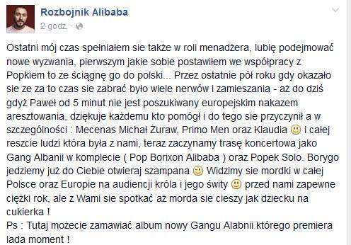 Rozbójnik Alibaba na Facebooku /