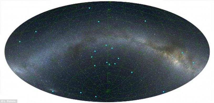 Rozkład rozbłysków gamma we wszechświecie (niebieskie kropki) /materiały prasowe