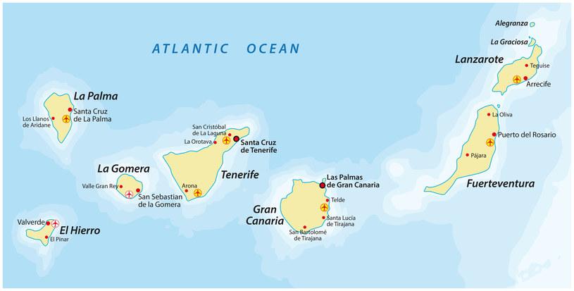 Rozmieszczenie przestrzenne poszczególnych wysp archipelagu Wysp Kanaryjskich /Rainer Lesniewski  /123RF/PICSEL