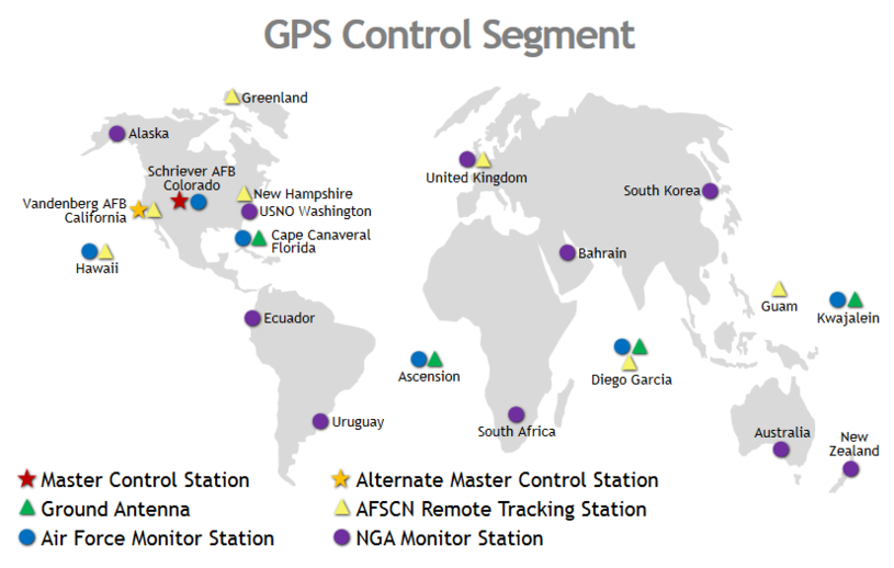 Rozmieszczenie stacji naziemnych segmentu kontrolnego systemu GPS. Źródło: gps.gov /materiały prasowe