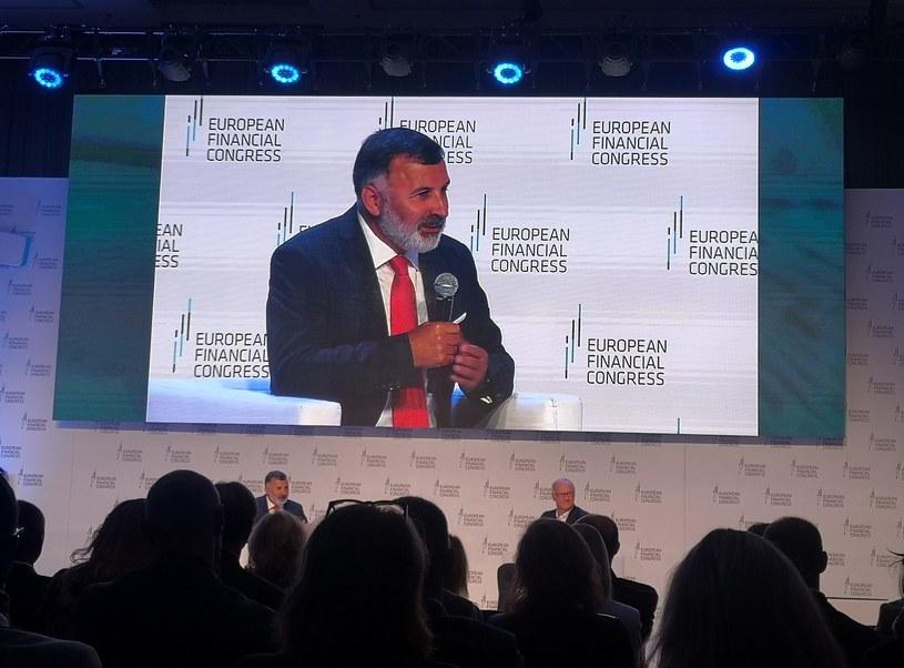 Rozmowa Zbigniewa Jagiełły ze Sławomirem Sikorą podczas Europejskiego Kongresu Finansowego /Źródło: KIR /