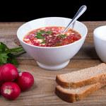 Różowa zupa-krem z rzodkiewki