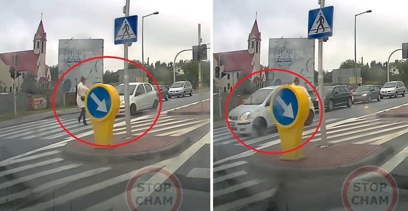 Rozpędzony samochód zahaczył o kobietę na pasach! /YouTube