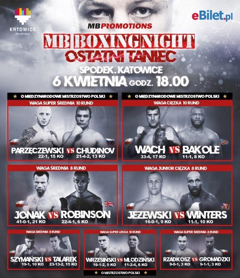 "Rozpiska gali ""MB Boxing Night"" 6 kwietnia w katowickim Spodku /MB Promotions /"