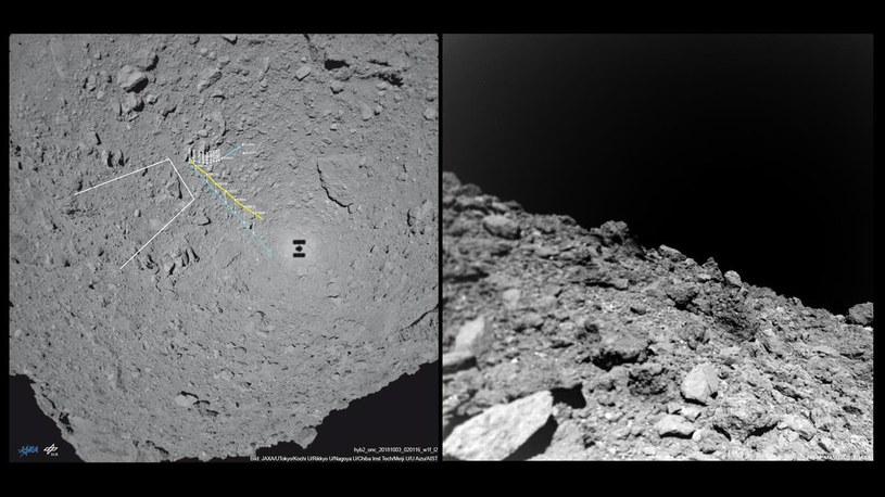 Ruch lądownika MASCOT oraz jeden z widoków z powierzchni Ryugu /materiały prasowe