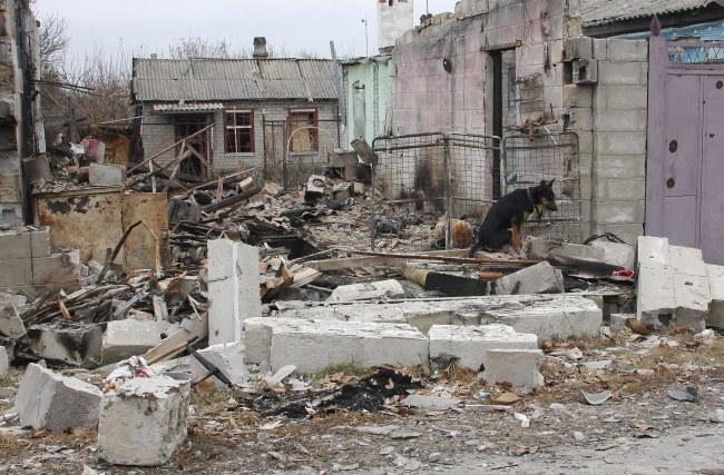Ruiny domów w Doniecku /PHOTOMIG /PAP/EPA