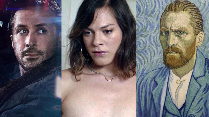 """Ryan Gosling """"Blade Runner 2049"""" (L), Daniela Vega w """"Fantastycznej kobiecie"""" (C) oraz Robert Gulaczyk jako Vincent van Gogh (P) /materiały dystrybutora"""