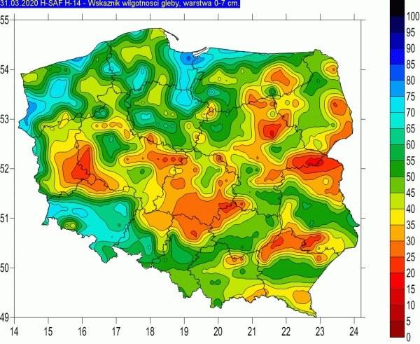 ryc. 3. Mapa wilgotności gleby na głębokości 0-7 cm (stan na 31.03.2020) /IMGW-PIB /