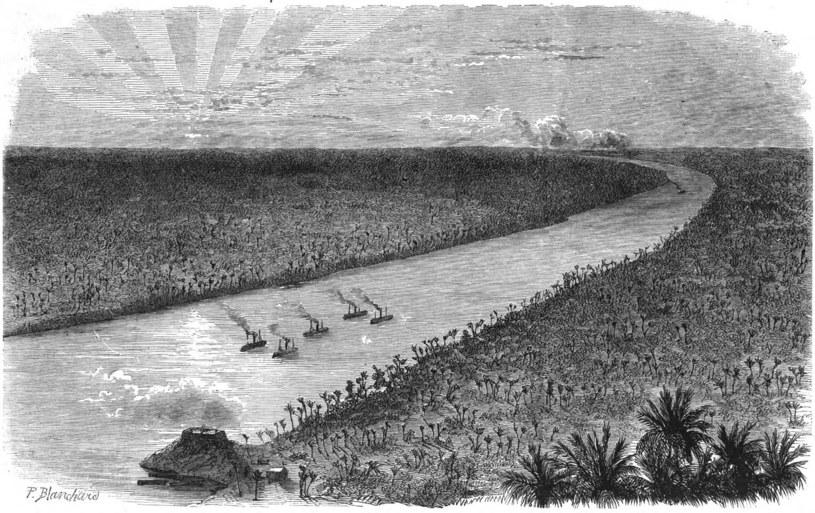 Rycina przedstawiająca brazylijską flotyllę rzeczną na rzece Paraquay /INTERIA.PL/materiały prasowe