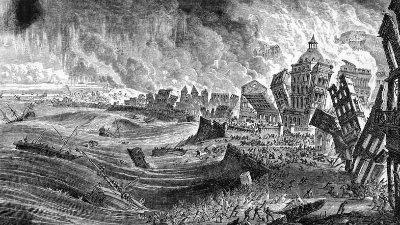 Rycina przedstawiająca skutki trzęsienia ziemi w 1755 r. / Bettmann / Contributor /Getty Images
