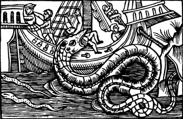 """Rycina przedstawiająca węża morskiego zamieszczona w księdze Olausa Magnusa """"Carta marina"""" (1555 r.) /MWMedia"""