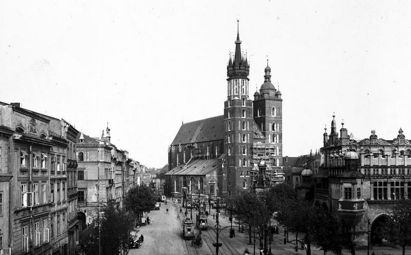 Rynek Główny w roku 1929 /Z archiwum Narodowego Archiwum Cyfrowego