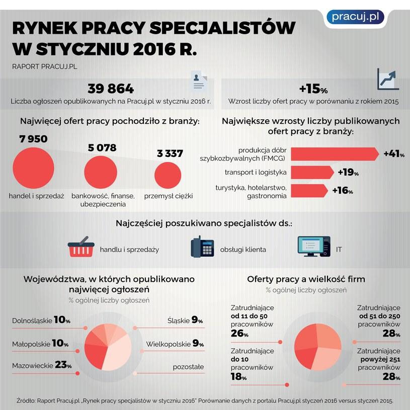 Rynek pracy specjalistów w styczniu 2016 r. /Pracuj.pl
