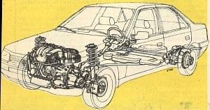 Rysunek anatomiczny samochodu. Zbiornik paliwa o pojemności 70 dm3 zlokalizowano pod siedzeniem tylnym. /Motor
