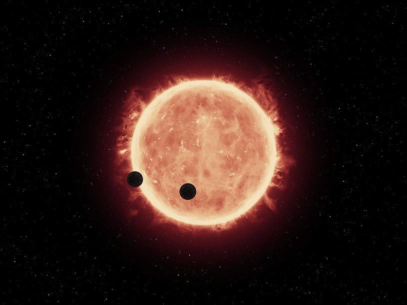 Rysunek pokazujący planety TRAPPIST-1b i TRAPPIST-1c, przechodzące przed tarczą swej gwiazdy /materiały prasowe
