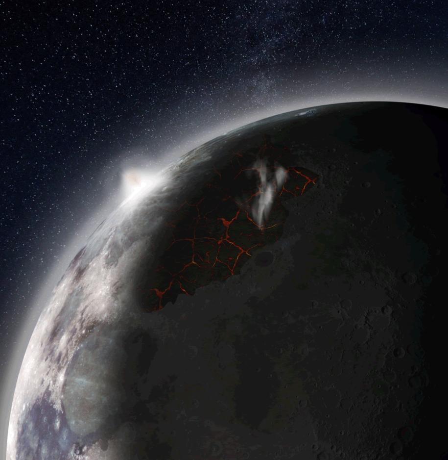 Rysunek powierzchni Księżyca, w czasach silnej aktywności wulkanicznej w rejonie obecnego Morza Deszczów (Mare Imbrium) /NASA MSFC /Materiały prasowe