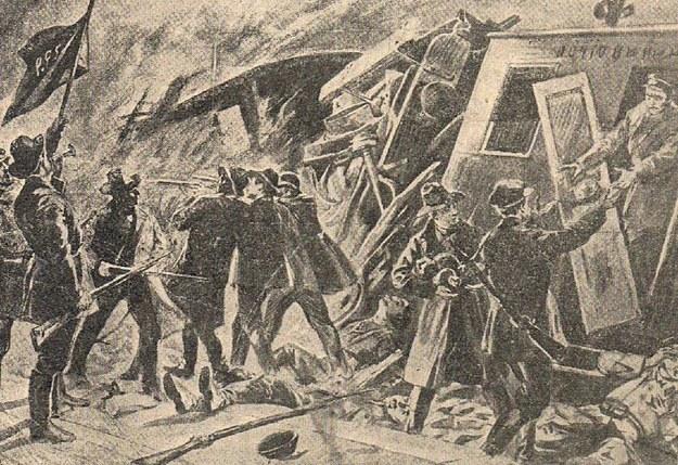 Rysunek przedstawiający jedną z akcji bojowców PPS. Źródło: Zbigniew Martynowski, Polska bojowa, Łódź 1937 /Wikimedia