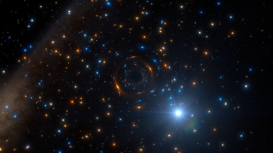 Rysunek przedstawiający układ podwójny z czarną dziurą w gromadzie NGC 3201. ESO/L. Calçada/spaceengine.org /Materiały prasowe