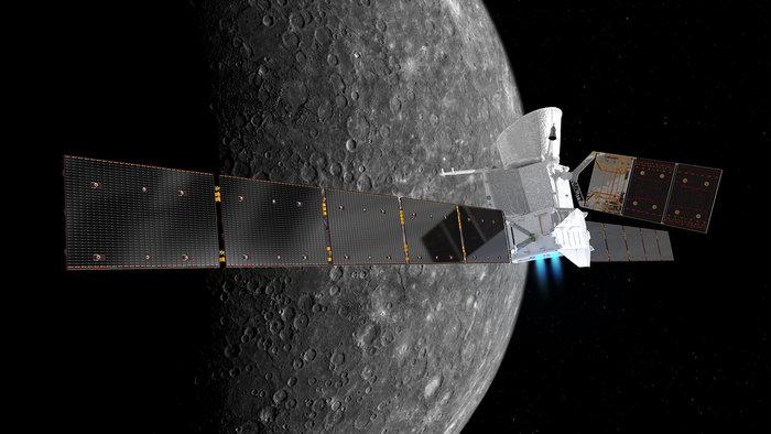 Rysunek sondy nad powierzchnia Merkurego / ESA/ATG medialab; NASA/JPL /Materiały prasowe