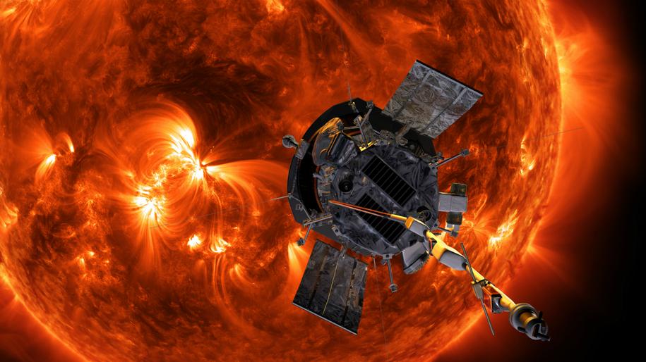 Rysunek sondy Parker Solar Probe na tle Słońca /NASA/Johns Hopkins APL/Steve Gribben /Materiały prasowe