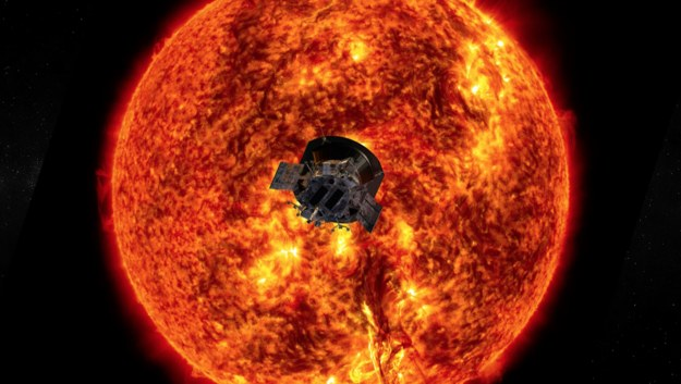 Rysunek sondy Parkera na tle Słońca /NASA/Johns Hopkins APL /Materiały prasowe