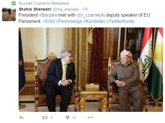 Ryszard Czarnecki omawia strategię z prezydentem Kurdystanu /Twitter